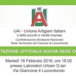 Unione Artigiani Italiani e delle Piccole Medie Imprese: martedì 16 febbraio la presentazione della nuova sede