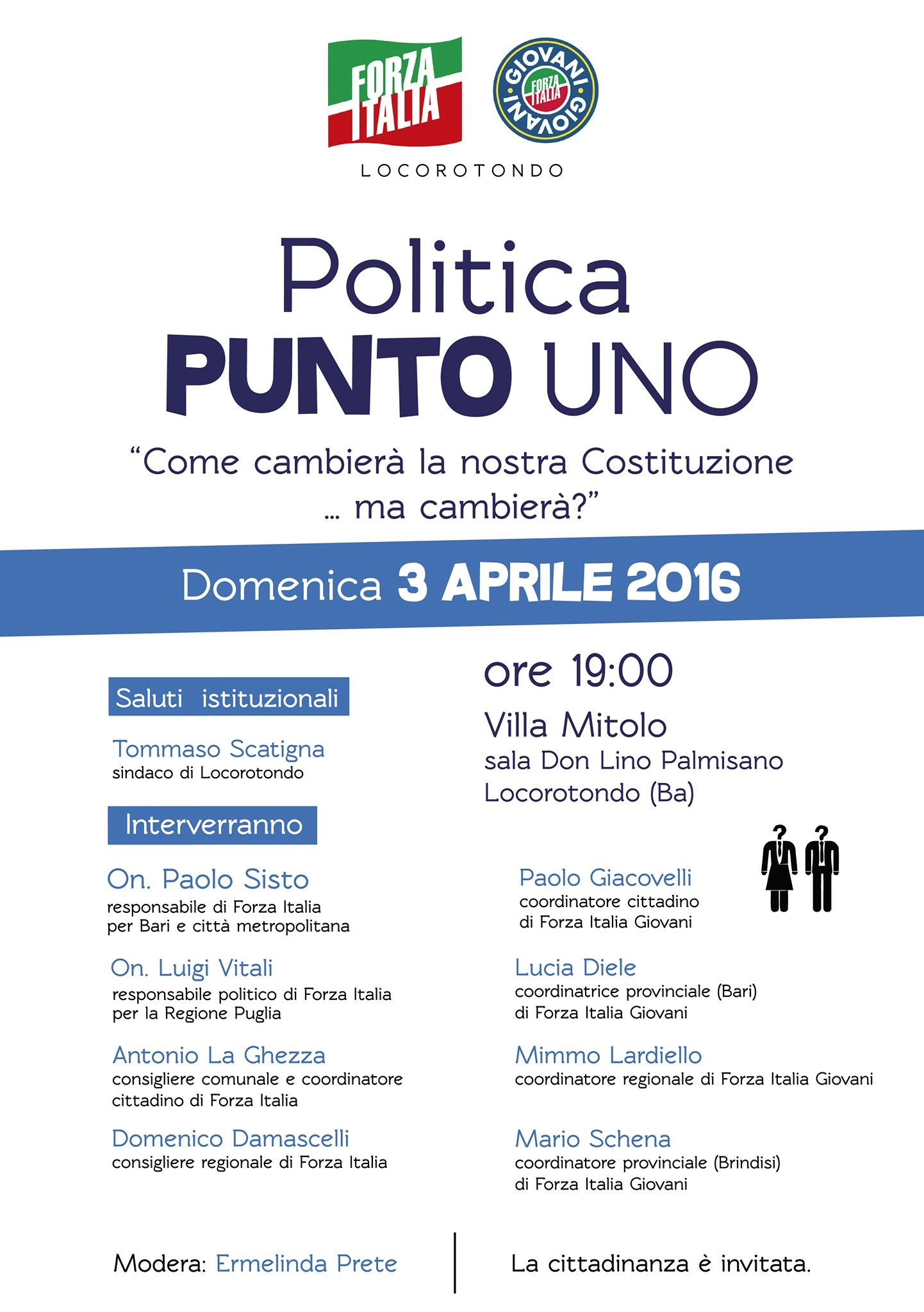 Partono gli incontri politici organizzati dal partito for Deputati di forza italia