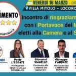 M5S: venerdì 16 marzo incontro a Villa Mitolo con i neoeletti